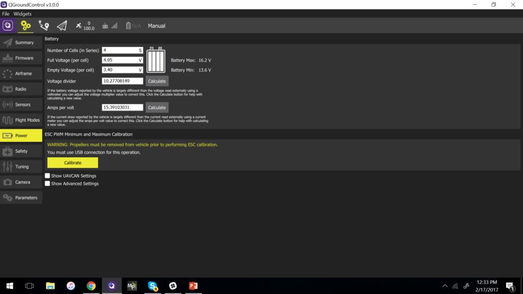 QGroundControl - Calibrate ESCs
